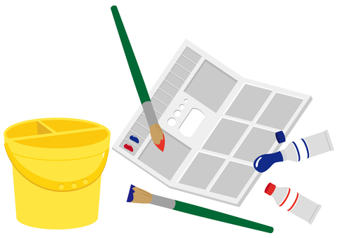 Paints, pallets, buckets, brushes
