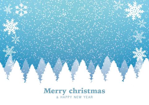 雪のクリスマスカード(冬空/木々)水色
