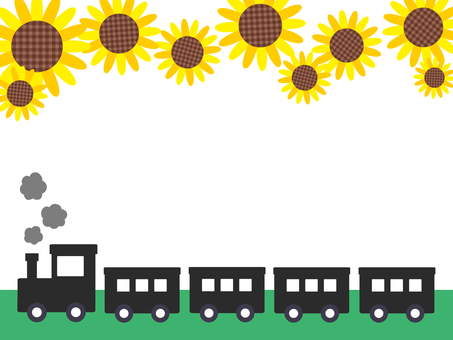 Train and sunflower in summer