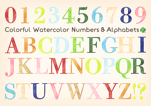 Watercolor touch colorful letters set