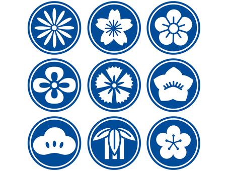Japanese flower icon Blue