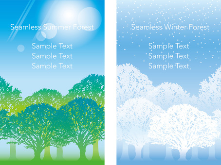 Seamless Four Seasons Forest 2 Summer and Winter