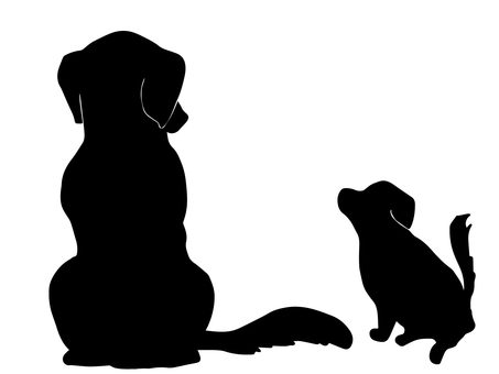 Parent and child of a dog (silhouette)
