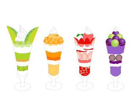 Four types of fruit parfait