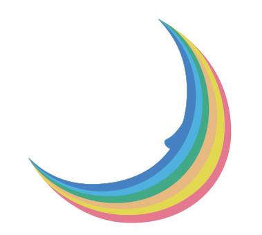 The moon made of a rainbow