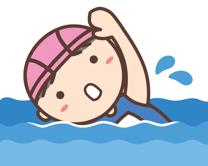Girl in a school swimsuit swimming in a crawl