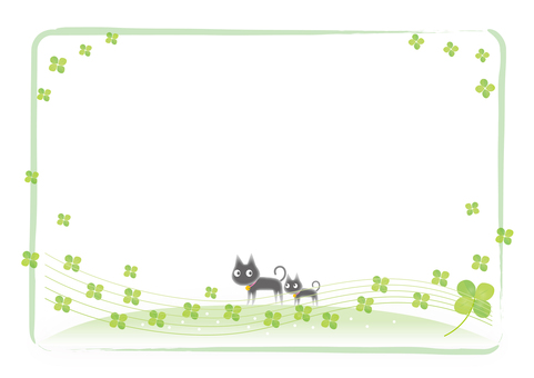 Black cat and clover frame