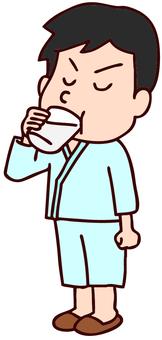 Illustration of men drinking barium