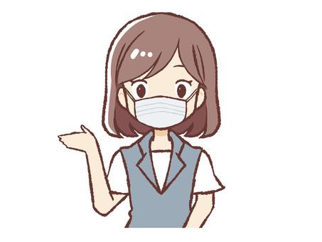 Uniform woman wearing a mask Information upper body
