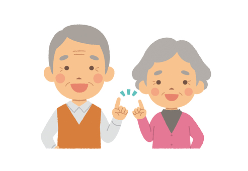 Old couple half body pointing pose