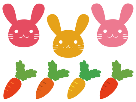 Set of rabbit and carrot