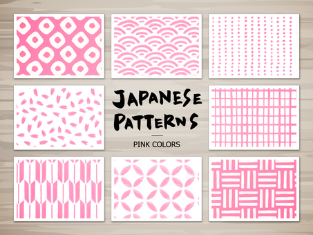 Japanese style pattern of hand-painted (pink)