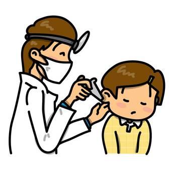 耳鼻喉科的耳朵檢查的女孩