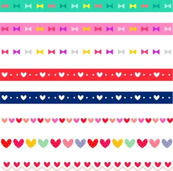 Various lines of ribbon and heart