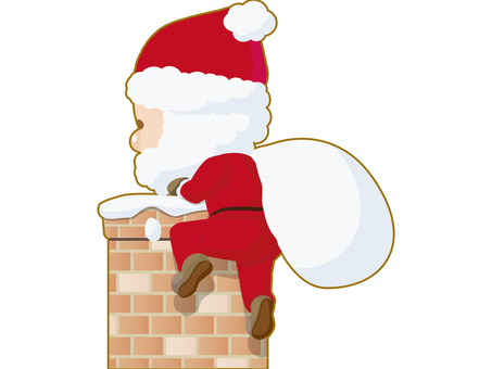 Santa Claus entering the chimney