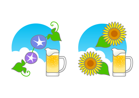 Beer and summer flowers