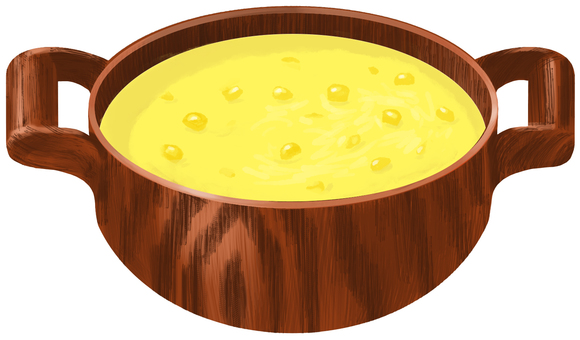 Corn potage wooden pot without contour