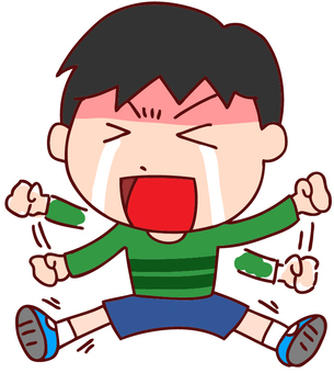Illustration of a boy who is crying and kneeling