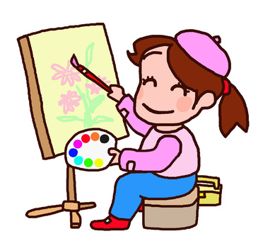 Girl drawing pictures at easel