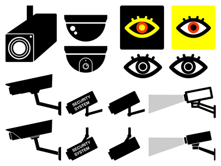 Security camera, surveillance camera black and white icon free