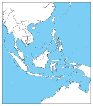 동남아 지역 - 백지 - 국경 있습니다 - 바다