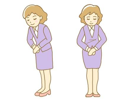 Women bowing