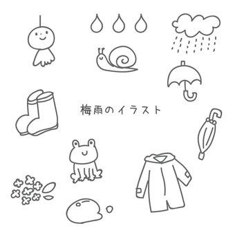 雨季的逗人喜愛的手畫例證套