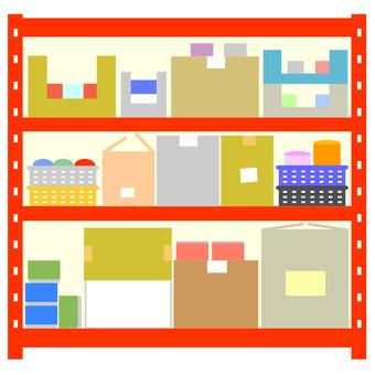 Shelf red warehouse