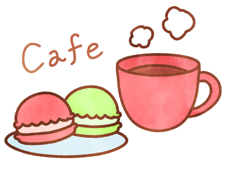 Watercolor style cafe set 7