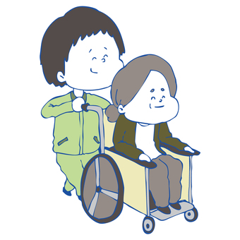 Wheelchair grandma and caregiver