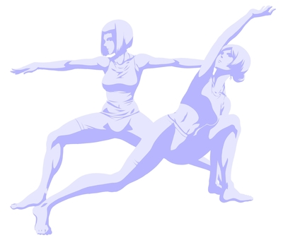 Two yoga women (shadow and silhouette)