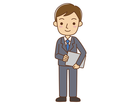 Office worker with documents and laptop