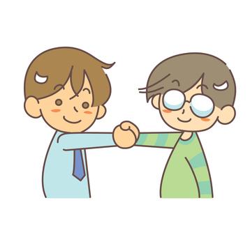 兩名男子與合作握手
