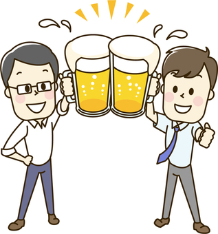 Men who drink beer at drinking party 2-1 toast
