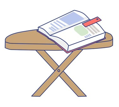 A table on which a book is placed