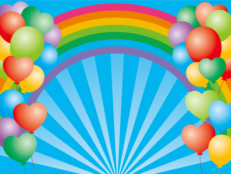 Rainbow and balloon background material