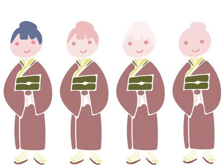 Kimono Women Full Length Standing Figure Chic