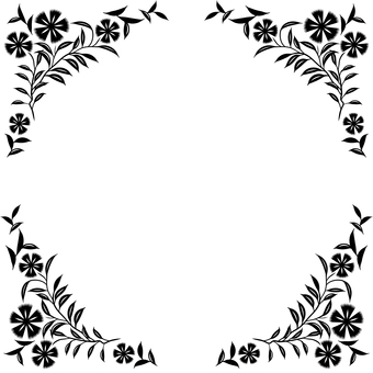 花のフレーム2(黒)