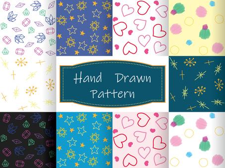 Hand drawn pattern set