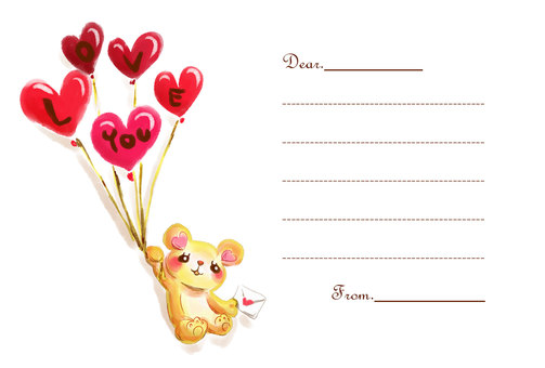 【Valentine】 Message card (Teddy