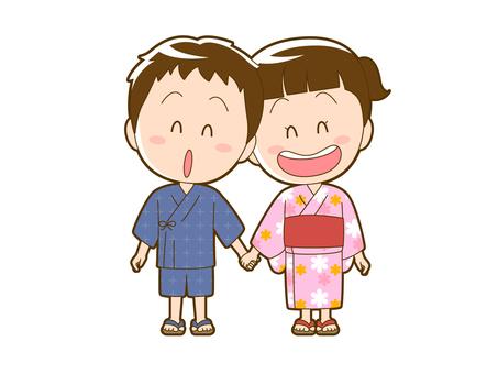 Summer _ boy and girl in yukata_010