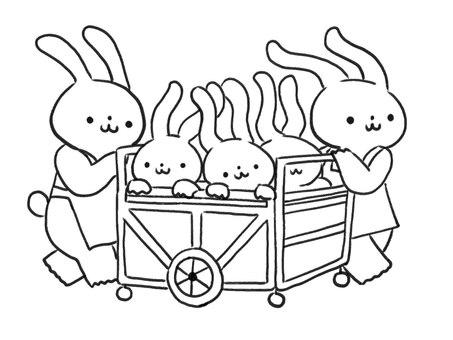 [흑백] 이동중인 보육사 토끼 [선]