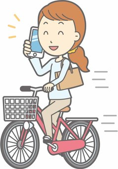 Bicycle woman - Bicycle smartphone - whole body