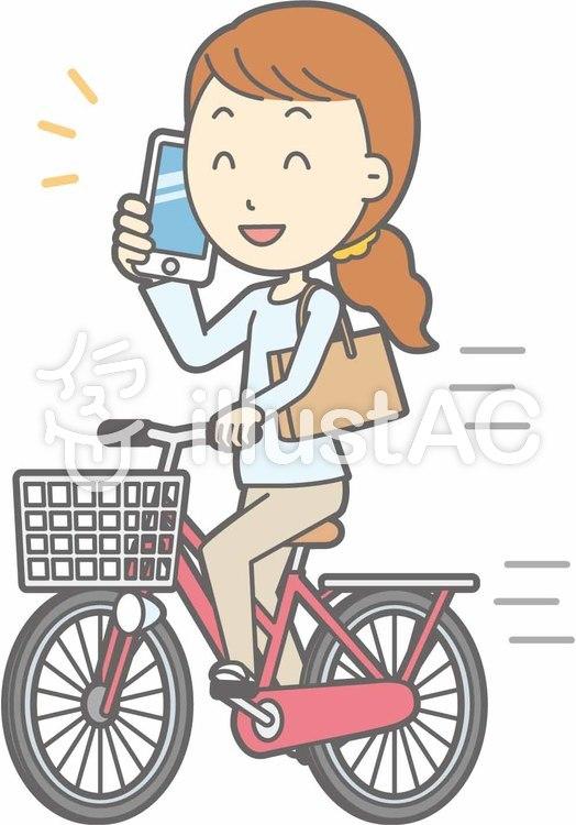 自転車女性-自転車スマホ-全身のイラスト