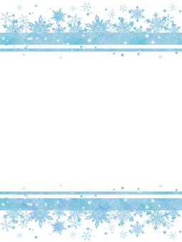 Winter frame snow flakes blue