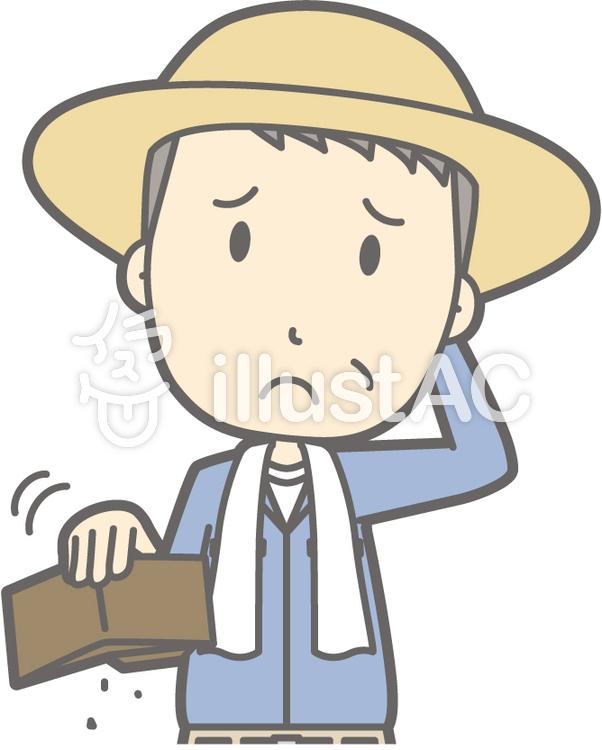中年農家男-お金無い-バストのイラスト
