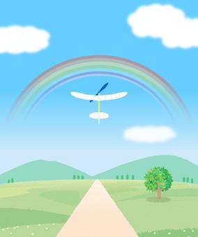 道のある風景 飛行機 イラスト