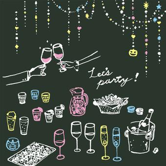 パーティー 1 黒板風