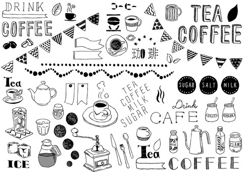 Cafe illustration set