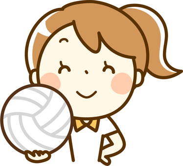 A girl with volleyball